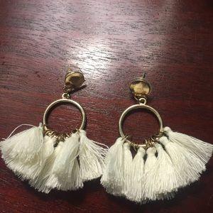 White and Gold Tassel Boho Earrings